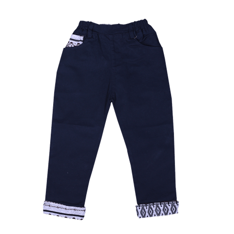 Navy Blue Patterned Pants