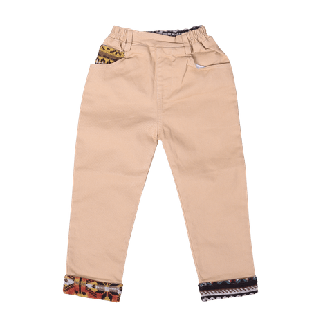 Beige Patterned Pants