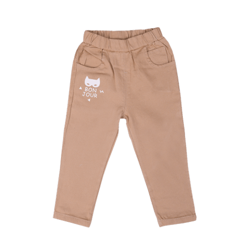 Beige Pants with Bonjour Print