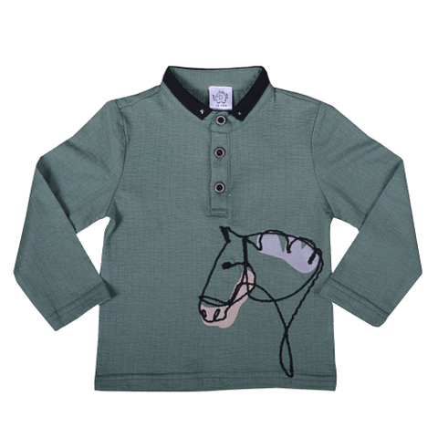 Green Full Sleeved T-Shirt with Horse Embroidery