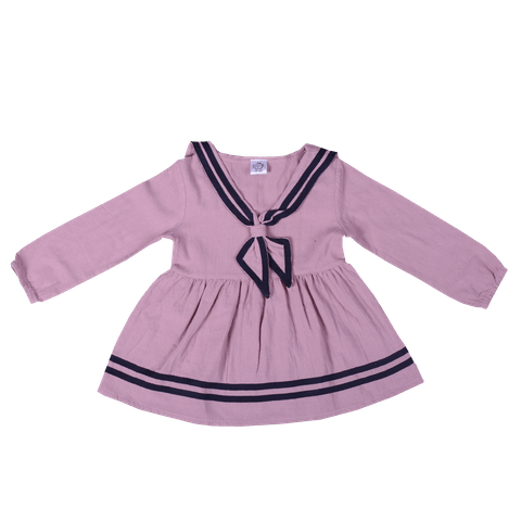 Pink Full Sleeved Dress with Sailor Collar