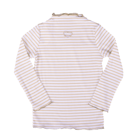 Beige Full Sleeved  Horizontal Striped Top with High Neck