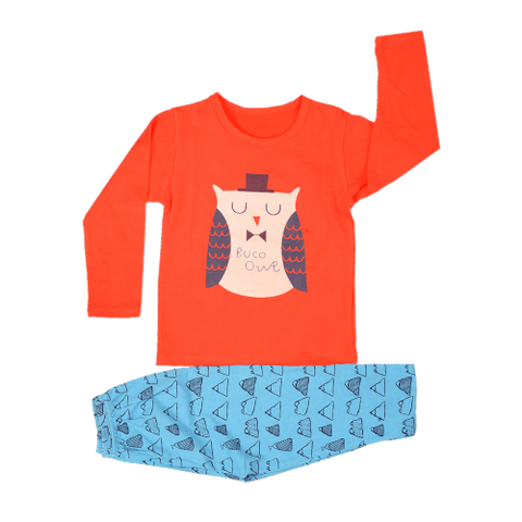 Red Night Wear with Owl Printed Tee & Blue Mountain Printed Pajama