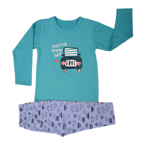 Blue Night Wear with Car Printed Tee and Gray Car Printed Pajama