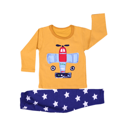 Yellow Night Wear with Helicopter Printed Tee & Blue Star Printed Pajama