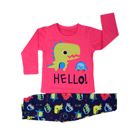 Pink Night Wear with Dino Printed Tee & Blue Dino Printed Pajama