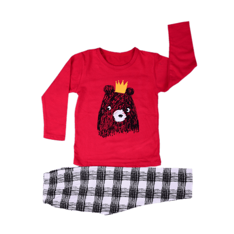 Red Night Wear with Teddy Printed Tee & Checked Pajama