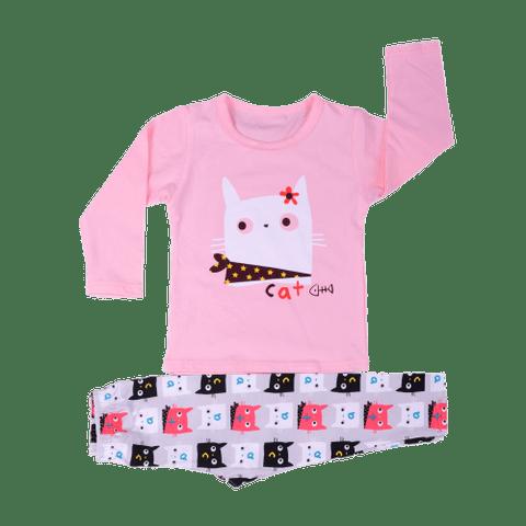 Pink Night Wear with Cat Printed Tee & Gray Cat Printed Pajama