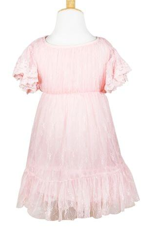 Pink Net Lace Frock with Belt