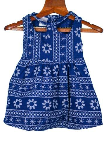 Blue Frock with Floral Embroidery and Leather Belt