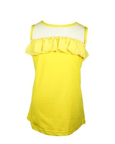 Yellow Sleeveless Top with Black Net and Pearl