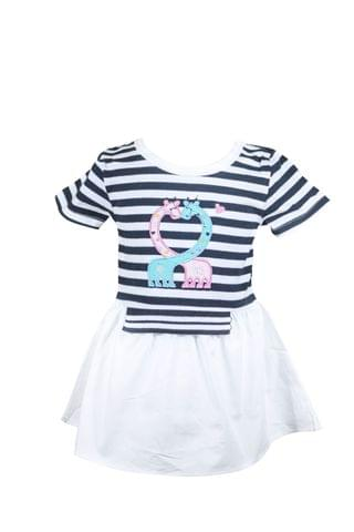 Black Stripped Half Sleevs Top with Giraffee Applique