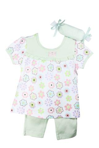 Set - HS Green Top w/ Floral Pant w/Napkin
