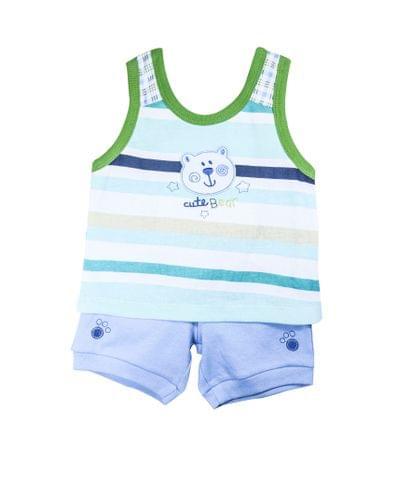 Set - SL Green Stripe Top Blue Shorts w/Bear