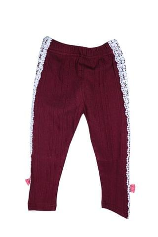 LullaBuy Maroon Legging with lace on side