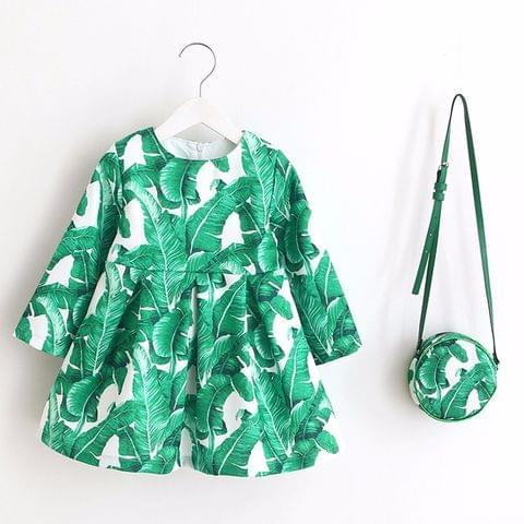 Frock - Green White w/Leaves Print & Bag