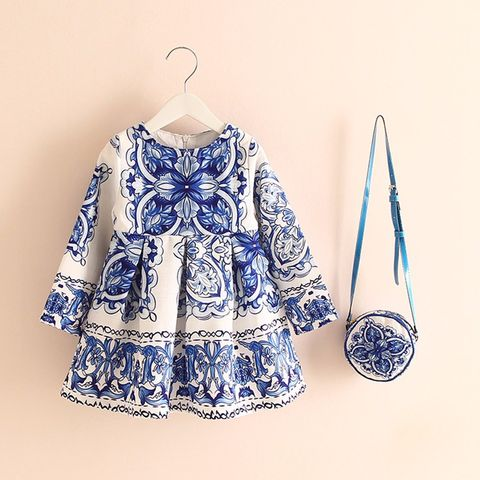 Frock - Blue White w/Floral Print & Bag