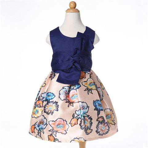 Frock - Blue Yoke & Floral Bottom w/ Bow