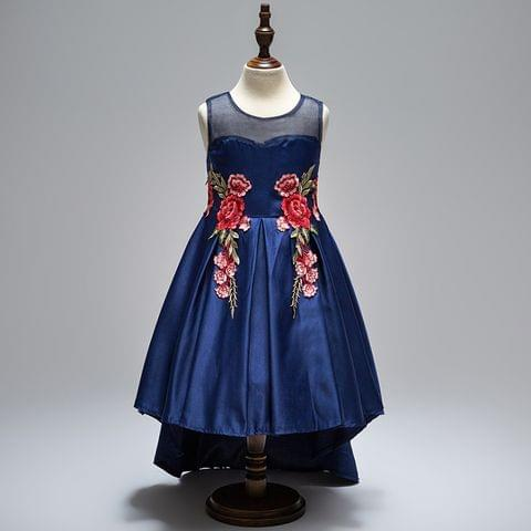 Frock - Blue Satin Up Down w/ Rose Applique