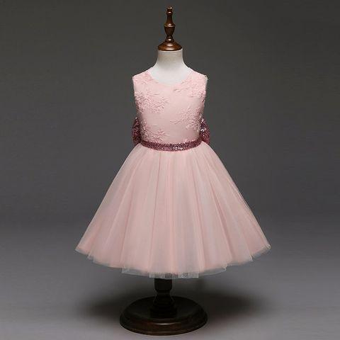 Frock - Pink Net w/ Stylish Back & Seq Bow