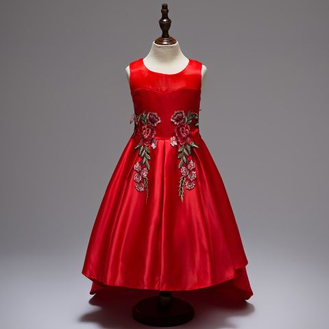 Frock - Red Satin Up Down w/ Rose Applique