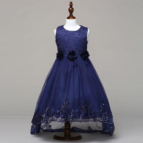 Frock - Blue Net Up Down Cut & 3 Flower