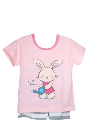 NightWear - Pink Polka Rabbit w/ Stripped SH