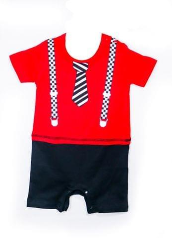 Romper - Red - Suspender & Tie Print