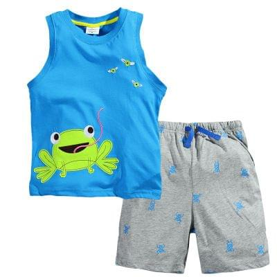 Set -  Blue Top with Frog & Gray Shorts