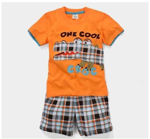 Set - HS Orange Top w/ Crocodile & Check Shorts