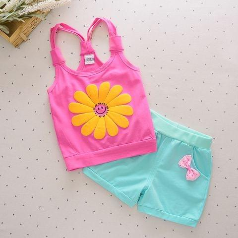 Set - SL Pink Top w/ Flower & Blue Shorts