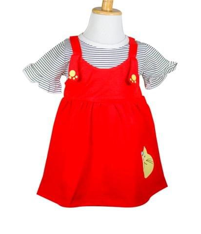 Frock - Red w/ Cat Face & Attached Stripped Top