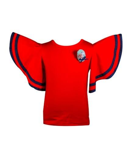 Top - HS Red Plain w/Peplum Sleeves
