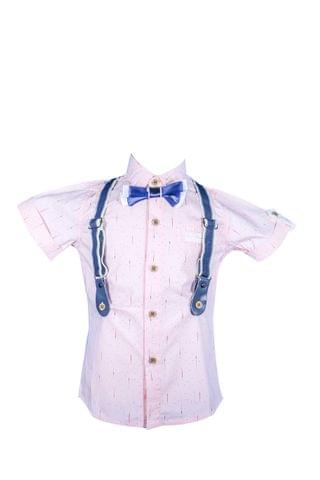 Shirt - HS Pink w/ Pattern Half Susp & Bow