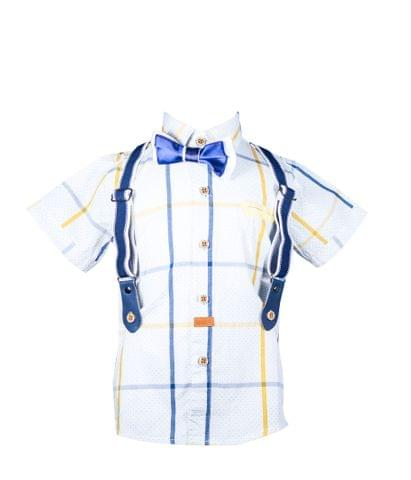Shirt - HS White w/BlueYellow Check Half Susp & Bow
