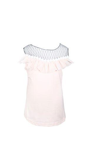 Top - SL Pink w/Black Net Lace & Pearl