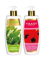 Vaadi Herbals Superbly Smoothing Heena Shampoo with Corn Rose Conditioner