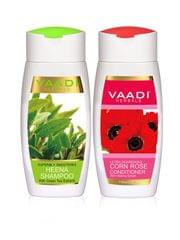 Vaadi Herbals Superbly Smoothing Henna Shampoo, 110ml with Corn Rose Conditioner, 110ml