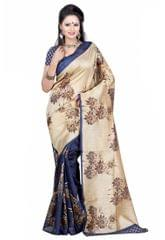Blue And Beige Color Printed Bhaglpuri Designer Saree