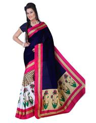 Blue Color Printed Bhaglpuri Designer Saree