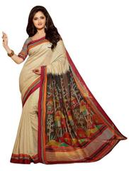Cream Color Bhagalpuri Silk Saree