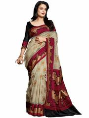 Beige Color Bhagalpuri Silk Saree
