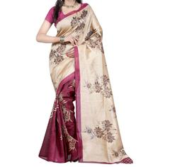 Megneta And Beige Color Printed Bhaglpuri Designer Saree