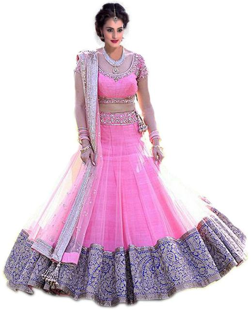 Pink Net Embroidered lehenga Choli_KDN307