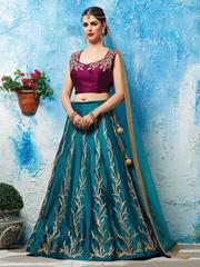 Purple And Blue Color And Embroidered Lehenga Choli