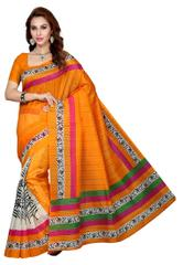 Orange Color Bhagalpuri Silk Saree