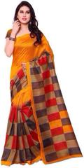 Orange Color Printed Bhaglpuri Designer Saree