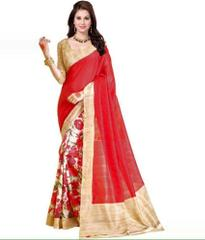 Red Color Printed Bhaglpuri Designer Saree