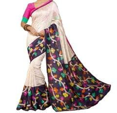 White Color Printed Bhaglpuri Designer Saree