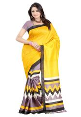 Yellow Color Printed Bhaglpuri Designer Saree